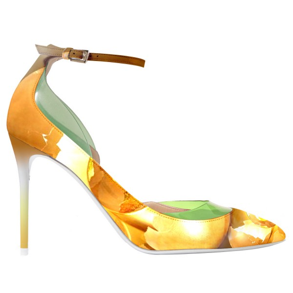 Daisy Yellow Leaves Printed Ankle Strap Heels Stiletto Pumps image 2