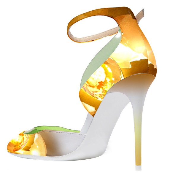 Daisy Yellow Leaves Printed Ankle Strap Heels Stiletto Pumps image 3