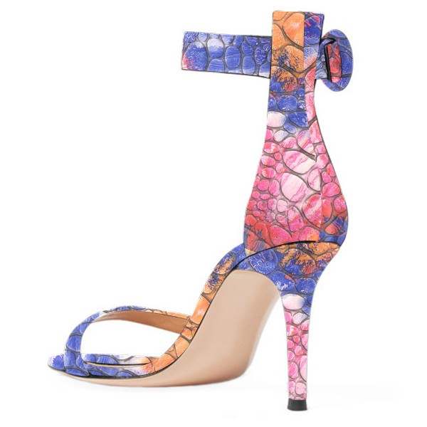 Women's Blue Open Toe Pebbling Ankle Strap Sandals image 4