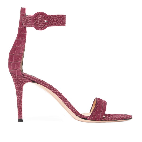 Maroon Python Stiletto Heels Open Toe Ankle Strap Sandals image 4