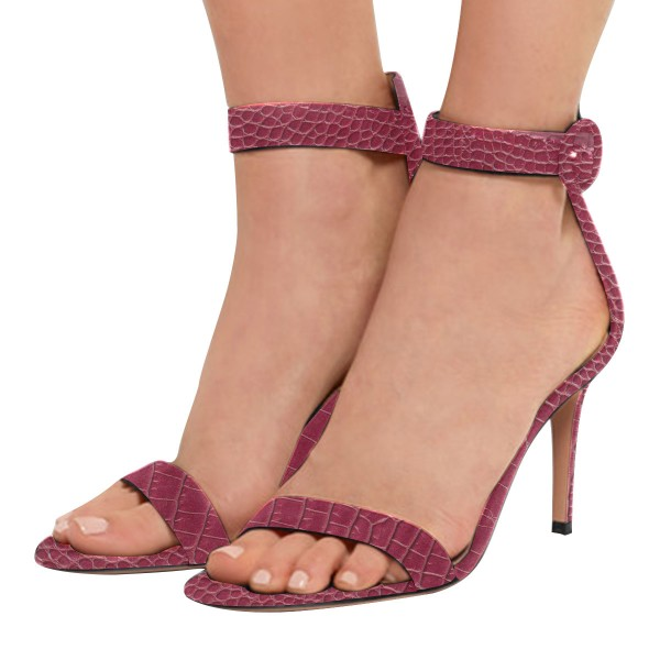 Maroon Python Stiletto Heels Open Toe Ankle Strap Sandals image 1