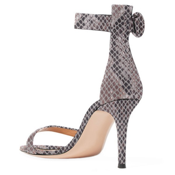 Women's Grey Cobra Stiletto Heel Ankle Strap Sandals image 3
