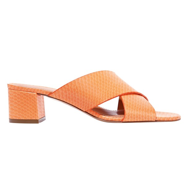 Orange Python Summer Sandals Open Toe Chunky Heel Mules image 3
