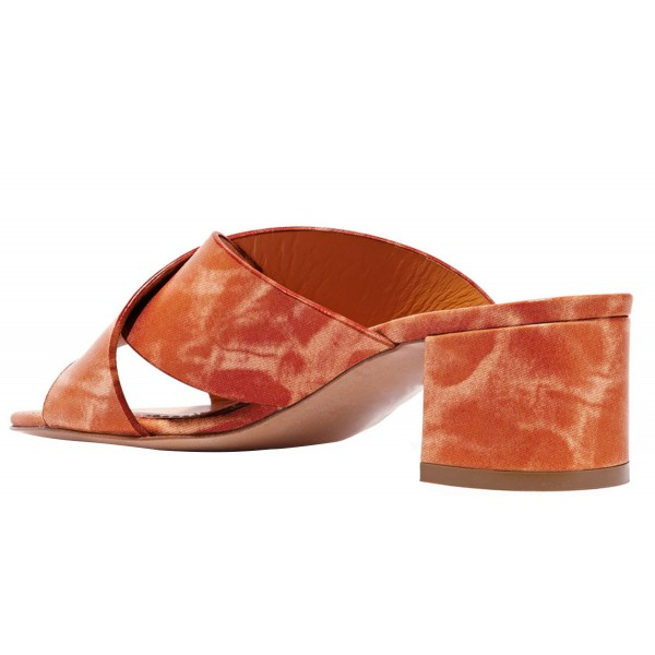 Brick Red Chunky Heel Sandals Comfortable Shoes for Women image 2