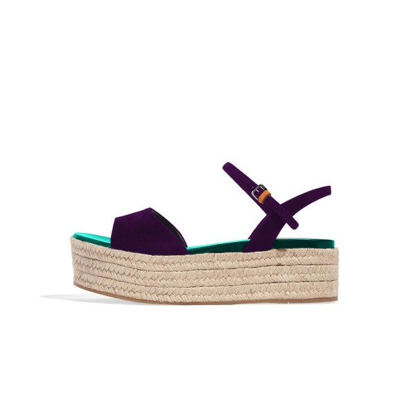 FSJ Purple Suede Open Toe Platform Sandals for Summer image 2
