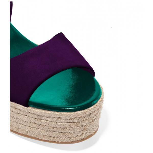 FSJ Purple Suede Open Toe Platform Sandals for Summer image 3