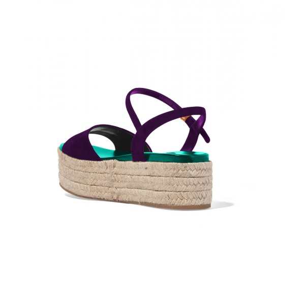 FSJ Purple Suede Open Toe Platform Sandals for Summer image 4