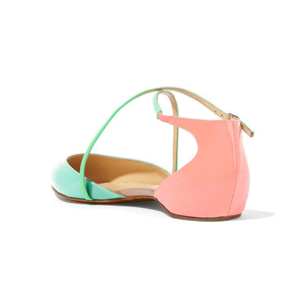 Cyan and Pink Pointy Toe Flats Cute Sandals image 4