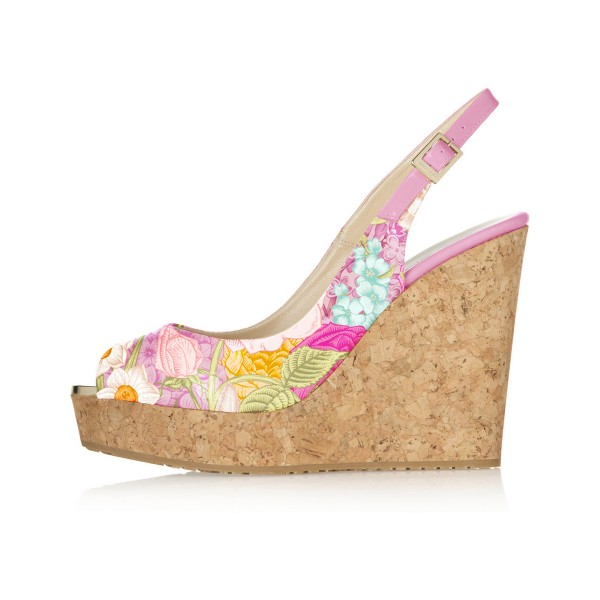 Colorful Diamond Lattice Printed Slingback Sandals  image 2