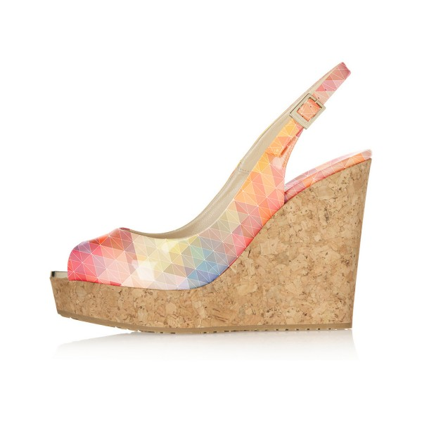 Multicolor Cork Wedges Peep Toe Platform Slingback Pumps image 2
