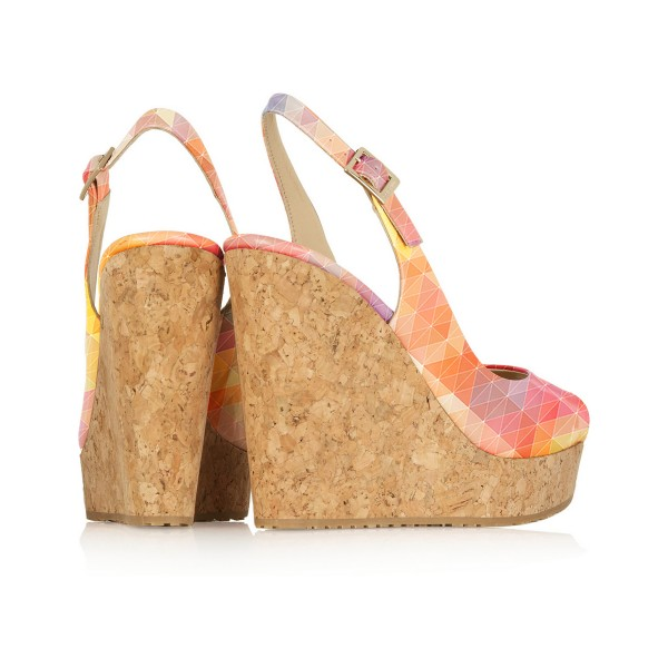 Multicolor Cork Wedges Peep Toe Platform Slingback Pumps image 3