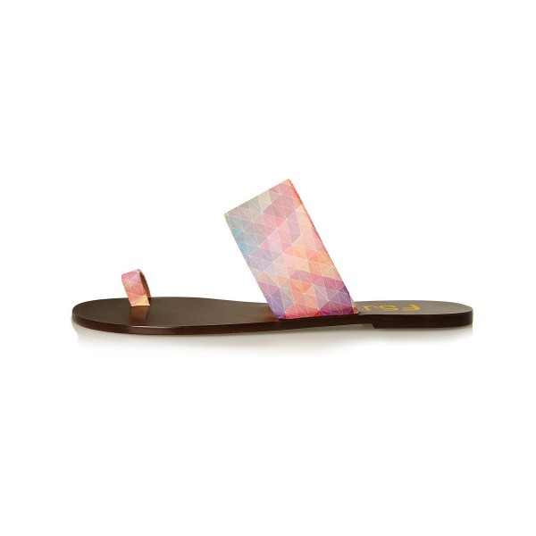 FSJ Multicolor Beach Sandals Summer Flat Sandals US Size 3-15 image 2