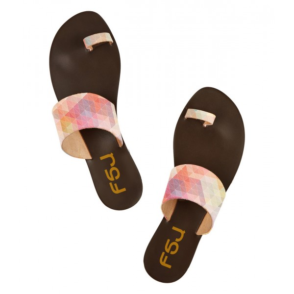 FSJ Multicolor Beach Sandals Summer Flat Sandals US Size 3-15 image 3