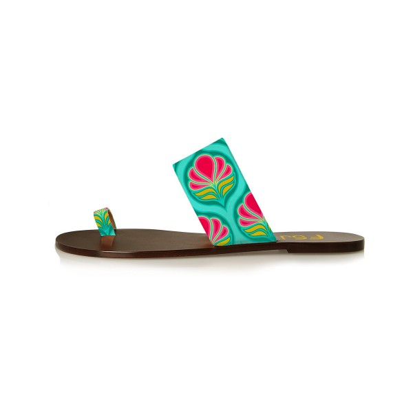 FSJ Green Floral Toe Loop Sandals Summer Flat Sandals US Size 3-15 image 2