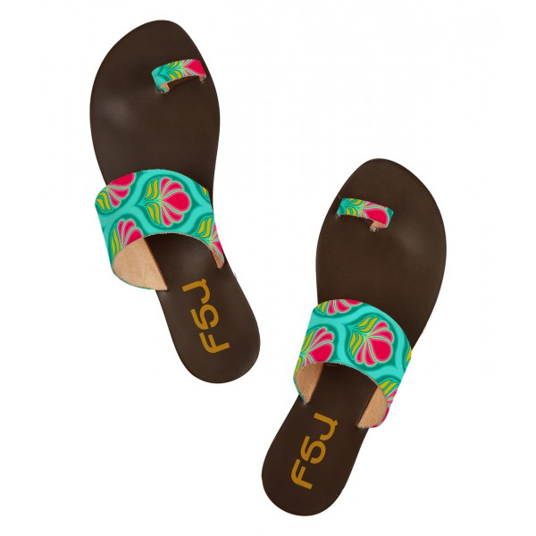 FSJ Green Floral Toe Loop Sandals Summer Flat Sandals US Size 3-15 image 3