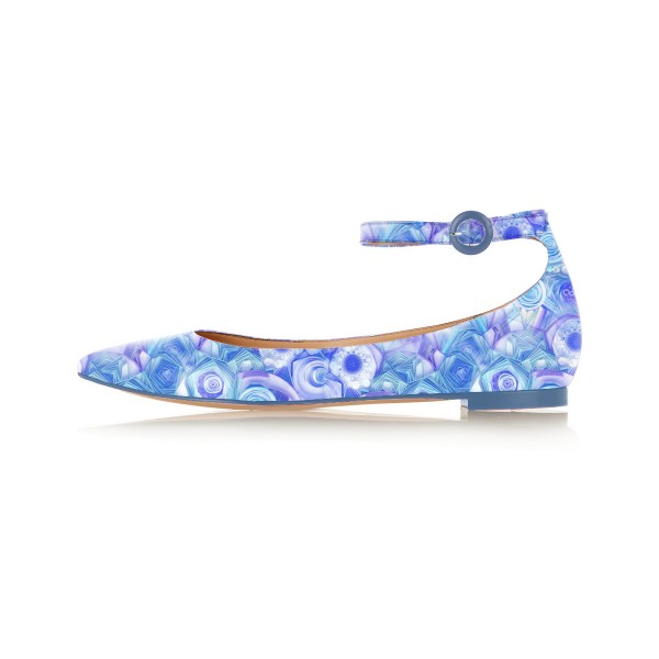 Blue Pointy Toe Flats Ankle Strap Floral School Shoes image 2