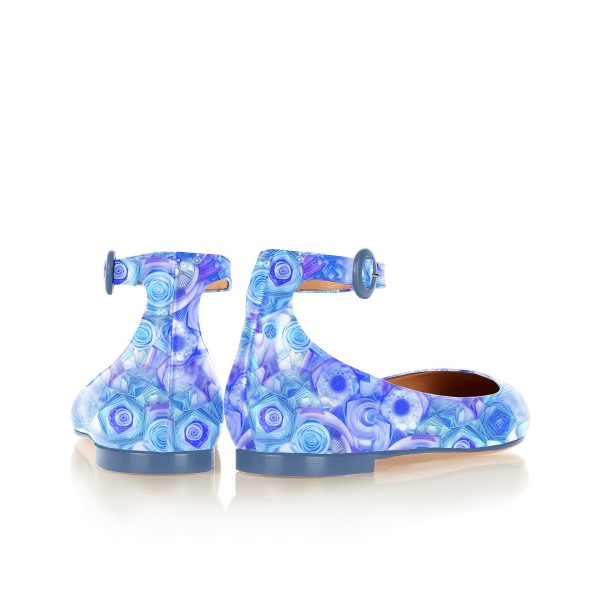Blue Pointy Toe Flats Ankle Strap Floral School Shoes image 4
