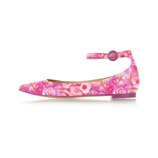 Pink Floral Pointy Toe Flats Ankle Strap Comfortable Shoes image 2