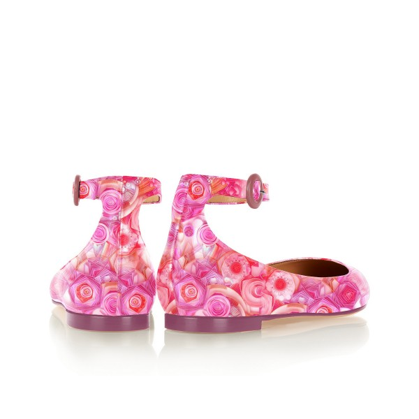 Pink Floral Pointy Toe Flats Ankle Strap Comfortable Shoes image 4