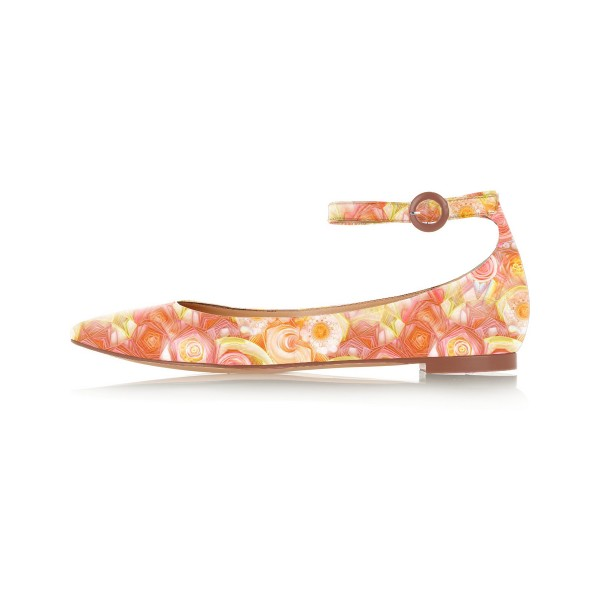 FSJ Orange Floral Ankle Strap Pointy Toe Flats All Size Avaliable image 2