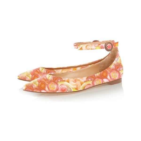 FSJ Orange Floral Ankle Strap Pointy Toe Flats All Size Avaliable image 1