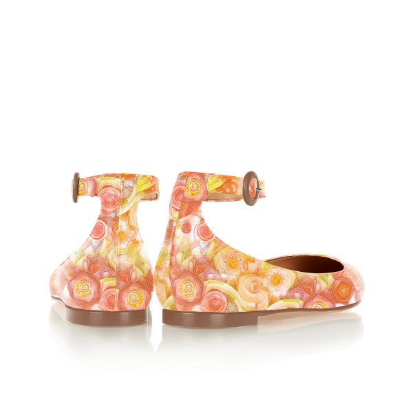 Women's  Yellow Pointed Toe Hollow Out Floral Drawing Ankle Buckle Flats Shoes image 4