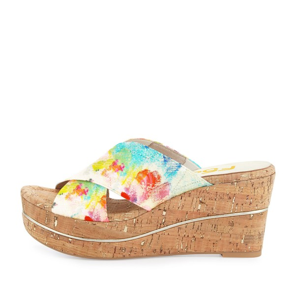 Women's Colorful Floral-print Wedge Heels Slippers Sandals image 2