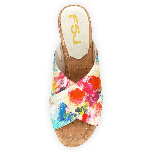 Women's Colorful Floral-print Wedge Heels Slippers Sandals image 3