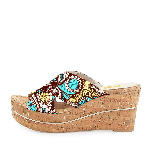 FSJ Blue Floral Platform Sandals Open Toe Summer Cork Mules image 2