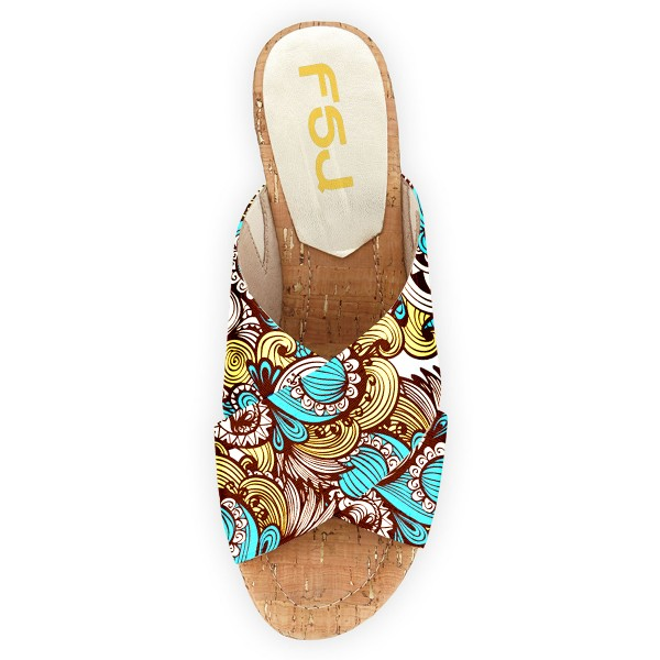 FSJ Blue Floral Platform Sandals Open Toe Summer Cork Mules image 3