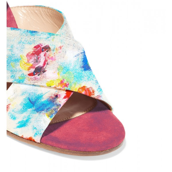 Chloe Pink Splash Ink Floral Printed Sandals image 2