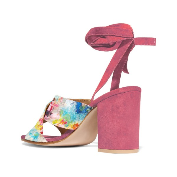Chloe Pink Splash Ink Floral Printed Sandals image 3