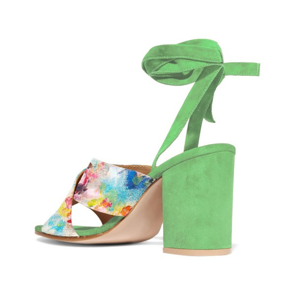 Women's Beryl Green Splash Ink Floral Printed Chunky Heel Sandals image 3