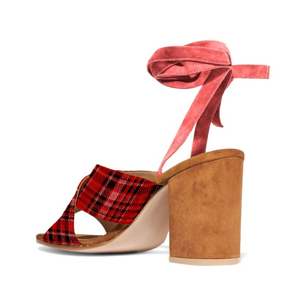 Red and Maroon Chequer Style Printed Sandals image 3