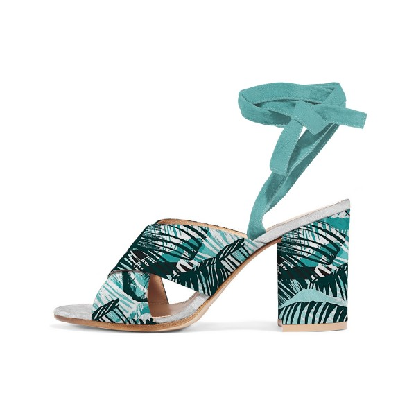 Turquoise Block Heel Sandals Floral Strappy Heels image 1