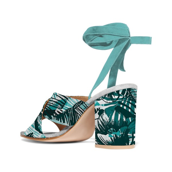 Turquoise Block Heel Sandals Floral Strappy Heels image 3