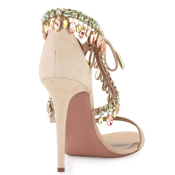 Beige Prom Shoes Lace up Suede Rhinestone Stiletto Heel Sandals  image 4