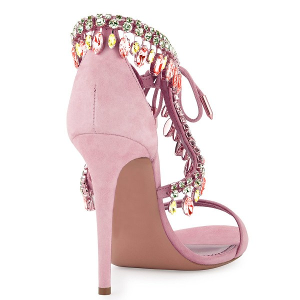 Pink Prom Shoes Lace up Stiletto Heel Sandals with Rhinestones image 2