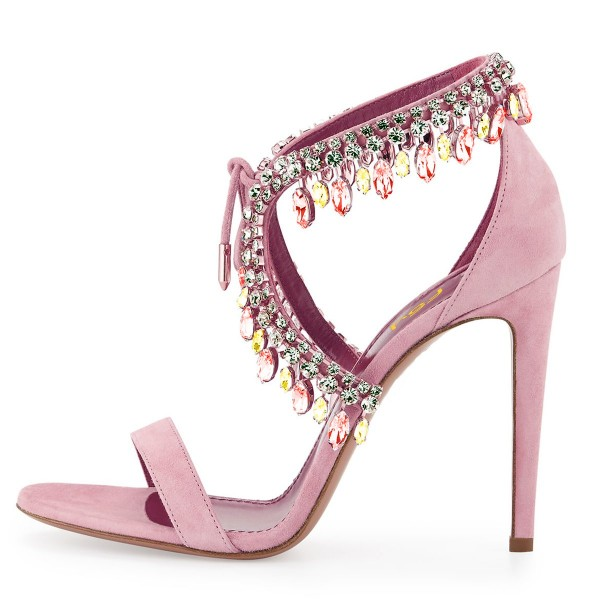 Pink Prom Shoes Lace up Stiletto Heel Sandals with Rhinestones image 4