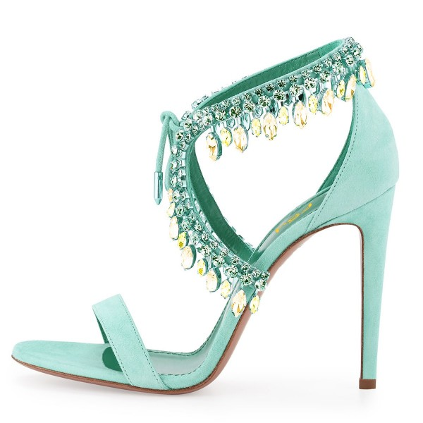Women's Beryl Green Paillette Crossed Ankle Straps Sandals image 2