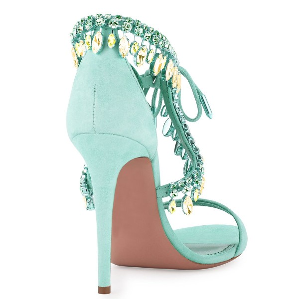 Women's Beryl Green Paillette Crossed Ankle Straps Sandals image 4