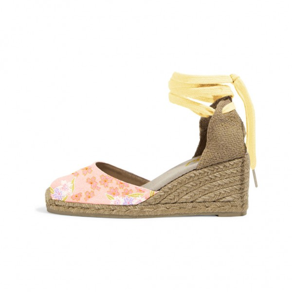 0fd24022f44 Pink Floral Print Espadrille Wedges Ankle Wrap Closed Toe Sandals image ...