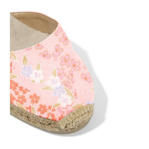 Pink Floral Print Espadrille Wedges Ankle Wrap Closed Toe Sandals  image 2