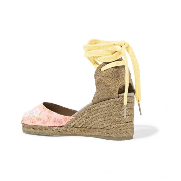 Pink Floral Print Espadrille Wedges Ankle Wrap Closed Toe Sandals  image 3