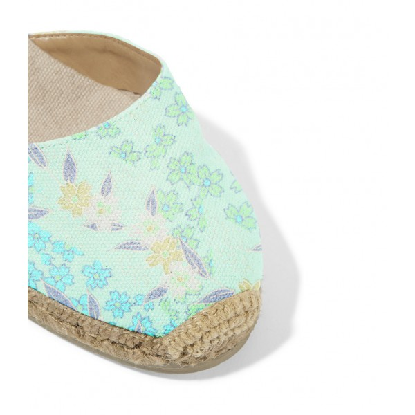 Turquoise Espadrille Wedges Floral Print Ankle Wrap Closed Toe Sandals image 2