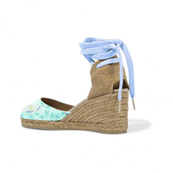 Women's Blue Fabrics Ankle Straps Wedge Heels Sandals image 3