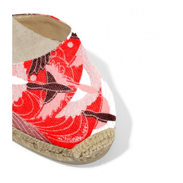 Red and Pink Espadrille Wedges Ankle Wrap Closed Toe Sandals image 2