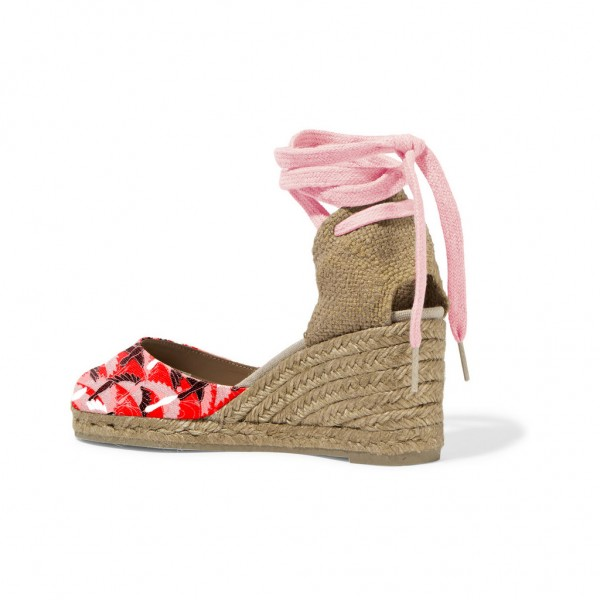 Red and Pink Espadrille Wedges Ankle Wrap Closed Toe Sandals image 3
