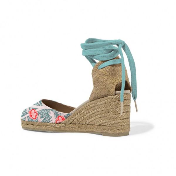 Teal Espadrille Wedges Floral Print Ankle Wrap Closed Toe Sandals image 3