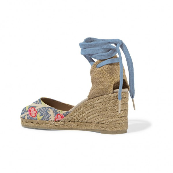 Blue Floral Espadrille Wedges Closed Toe Ankle Wrap Sandals image 3
